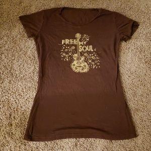 Tops - Brown Guitar T-shirt